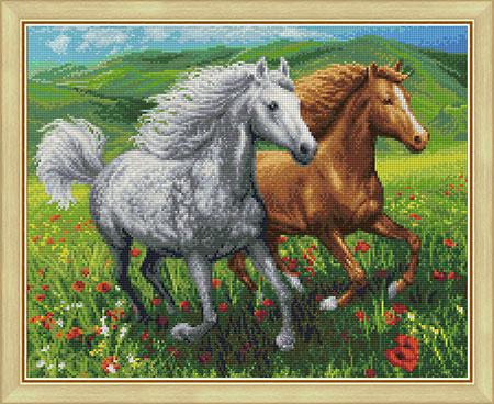 Malen nach Zahlen Bild Pferde auf der Weide - AZ-1766 von Sonstiger Hersteller