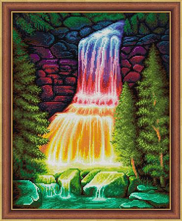 Regenbogenfarbener Wasserfall