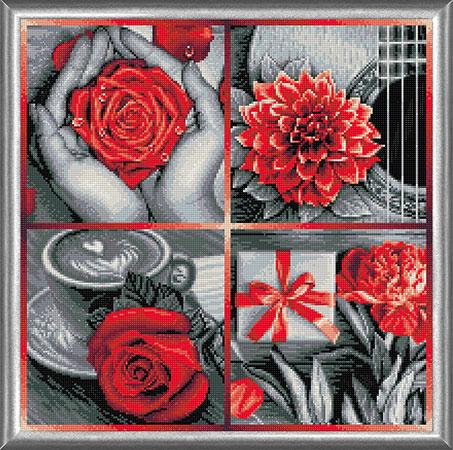 Malen nach Zahlen Bild Rote Blumen - Collage - AZ-1776 von Sonstiger Hersteller