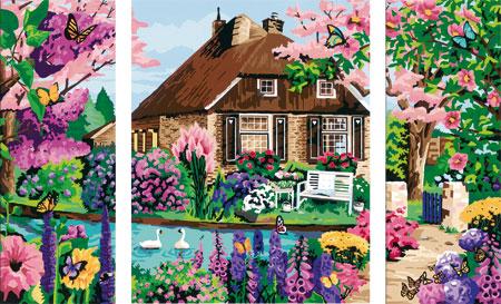 Malen nach Zahlen Bild Zauberhaftes Cottage - Triptychon - 28982 von Ravensburger
