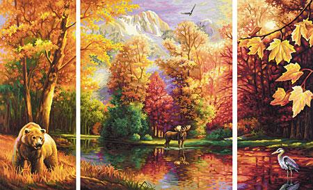 Malen nach Zahlen Bild Indian Summer - Triptychon - 609260650 von Schipper