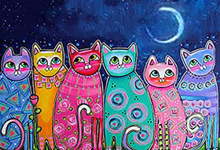 Malen nach Zahlen Bild Kunterbunte Katzen - WD2390 von Sonstiger Hersteller