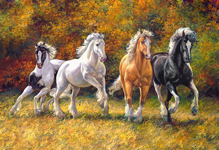 Malen nach Zahlen Bild Pferde im Galopp - WD2388 von Sonstiger Hersteller