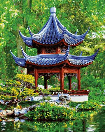 Malen nach Zahlen Bild Pagode im japanischen Garten - 609130850 von Schipper