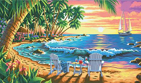 Malen nach Zahlen Bild Sonnenuntergang am Strand - 91444 von Paintworks