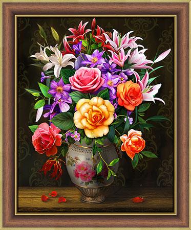 Malen nach Zahlen Bild Rosen und Lilien - AZ-1744 von Sonstiger Hersteller