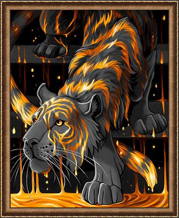 Tiger im flüssigen Gold