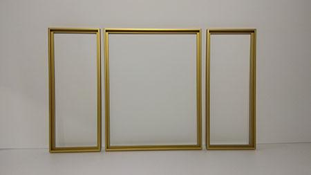 Goldene Aluminium-Rahmen Triptychon 80 x 50 cm