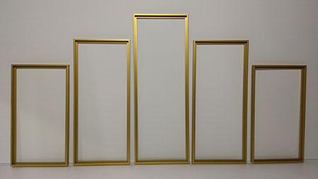 Goldenen Aluminium-Rahmen Polyptychon 132 x 72 cm