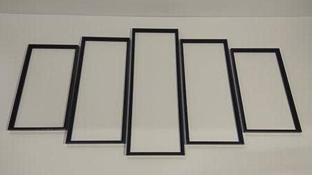 Malen-nach-Zahlen-Zubehör Schwarze Aluminium-Rahmen Polyptychon 132 x 72 cm