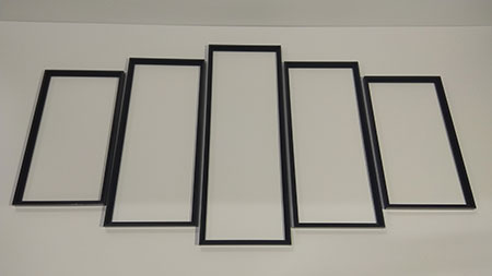 Schwarze Aluminium-Rahmen Polyptychon 132 x 72 cm