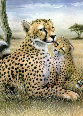 Malen nach Zahlen Bild Leoparden - Mutter und Kind - OPSMIN103 von Sonstiger Hersteller