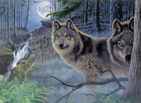 Wölfe im Mondschein
