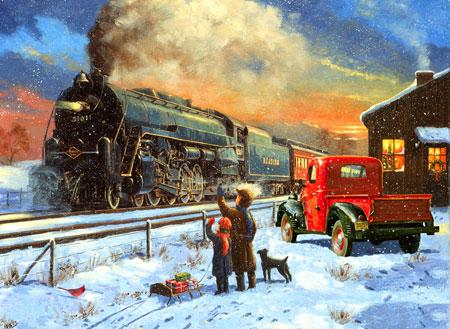 Dampflok zur Weihnachtszeit