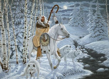 Schamane mit weißem Pferd