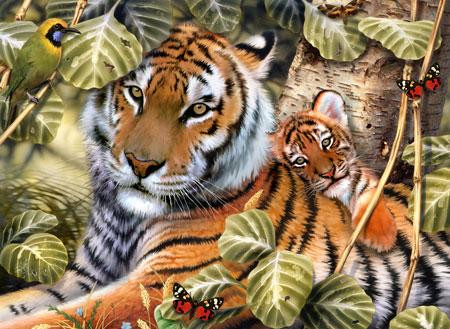 Malen nach Zahlen Bild Tigermama mit Baby - PJL36 von Sonstiger Hersteller