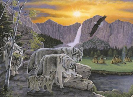 Malen nach Zahlen Bild Wölfe in freier Wildbahn - PJL38 von Sonstiger Hersteller