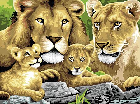 Malen nach Zahlen Bild Löwenfamilie - PJL4 von Sonstiger Hersteller