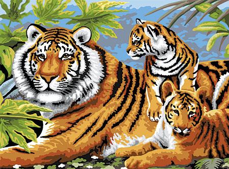Malen nach Zahlen Bild Tigerfamilie - PJL5 von Sonstiger Hersteller