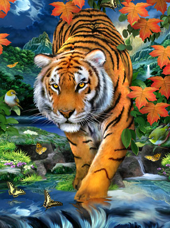 Malen nach Zahlen Bild Tiger auf der Pirsch - PJS84 von Sonstiger Hersteller
