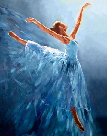 Malen nach Zahlen Bild Blaue Ballerina - WD2343 von Artibalta