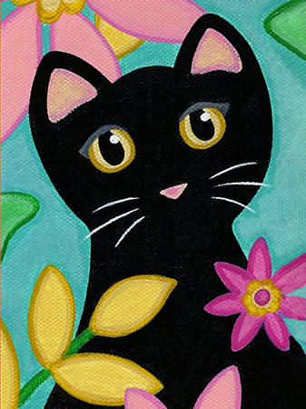 Malen nach Zahlen Bild Katze und Blumen - WD2359 von Sonstiger Hersteller