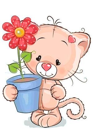 Malen nach Zahlen Bild Kätzchen mit Geschenk - WD2367 von Sonstiger Hersteller