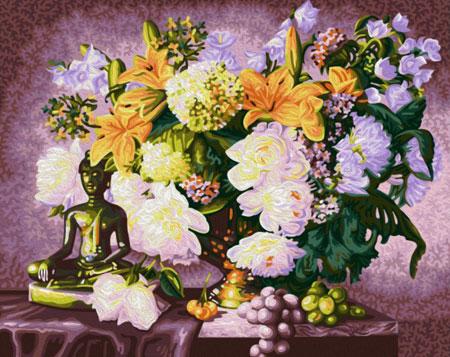 Malen nach Zahlen Bild Budda mit Blumen - 01ART40500091 von Artibalta