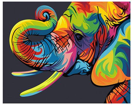 Regenbogenfarbener Elefant