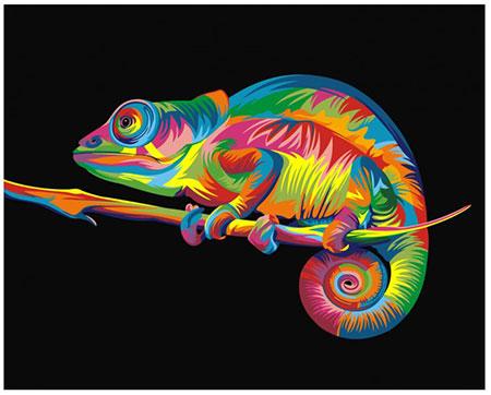 Malen nach Zahlen Bild Regenbogenfarbenes Chamäleon - 02ART40500004 von Sonstiger Hersteller