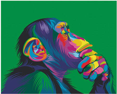 Regenbogenfarbener Schimpanse