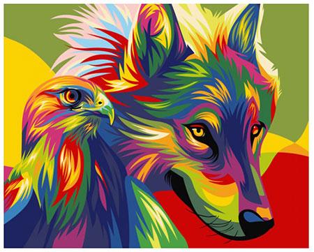 Regenbogenfarbene Raubtiere