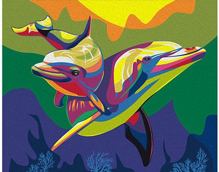 Regenbogenfarbene Delfine