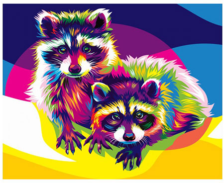 Malen nach Zahlen Bild Regenbogenfarbene Waschbären - 02ART40500076 von Sonstiger Hersteller