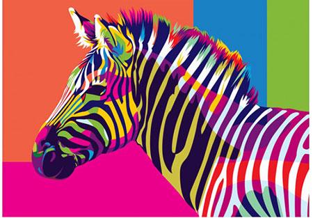 Regenbogenfarbenes Zebra