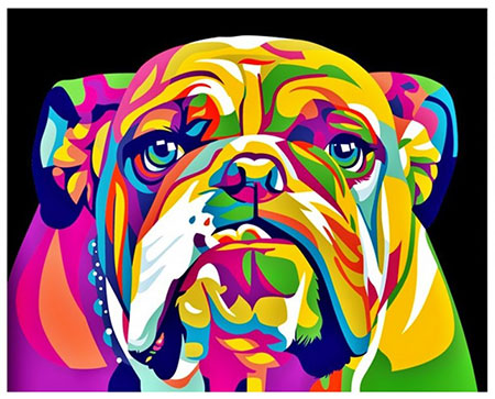 Regenbogenfarbene englische Bulldogge