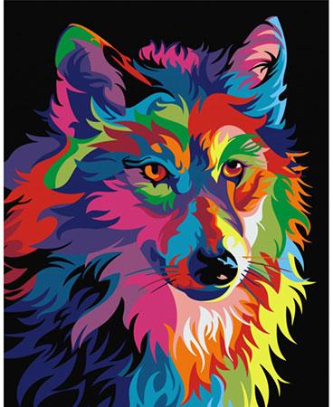 Regenbogenfarbener Wolf