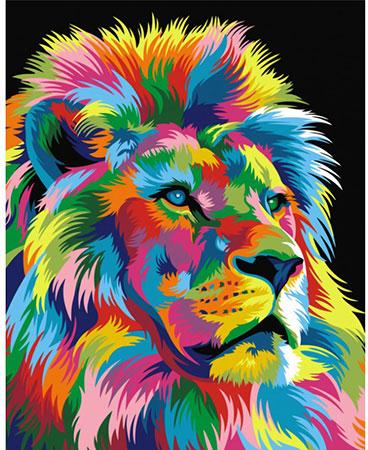 Regenbogenfarbenes Löwe