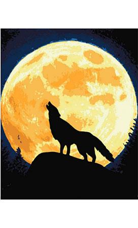 Malen nach Zahlen Bild Wolfsheulen im Mondlicht - 02ART50400120 von Sonstiger Hersteller