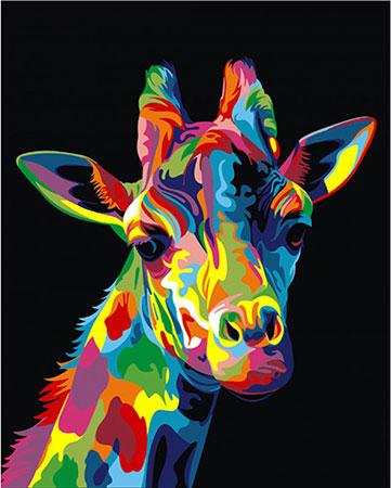 Regenbogenfarbene Giraffe