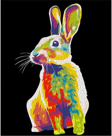 Regenbogenfarbener Hase