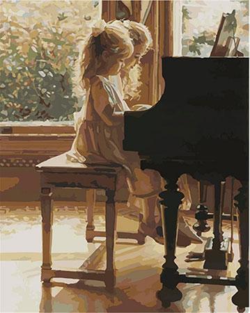 Malen nach Zahlen Bild Klavierstunde - 03ART50400271 von Sonstiger Hersteller