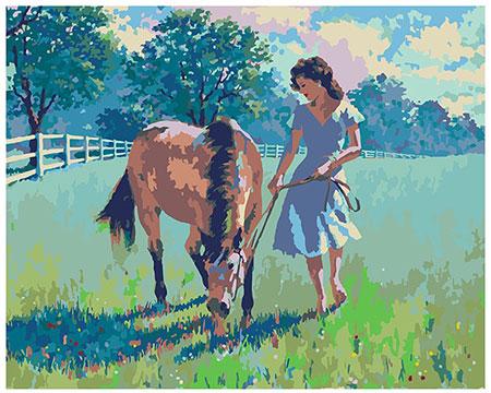 Malen nach Zahlen Bild Die Frau und ihr Pferd, Sarnoff - 04ART40500110 von Sonstiger Hersteller
