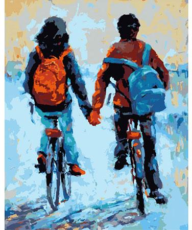 Händchenhalten beim Fahrradfahren