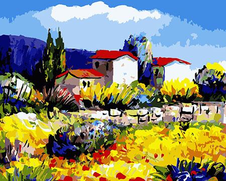 Malen nach Zahlen Bild Dorf in der Provence - A003 von Sonstiger Hersteller