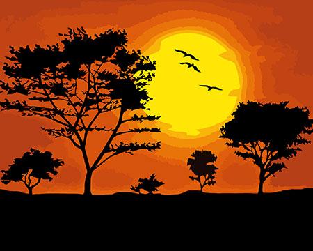 Malen nach Zahlen Bild Sonnenuntergang - A021 von Sonstiger Hersteller