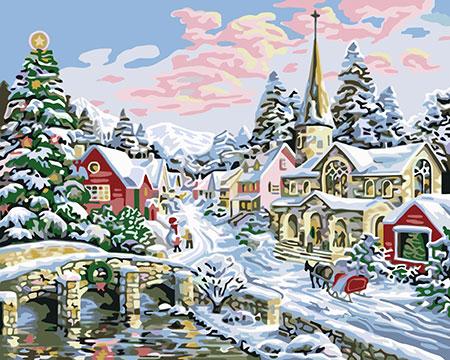 Malen nach Zahlen Bild Weihnachtliche Landschaft - A055 von Sonstiger Hersteller
