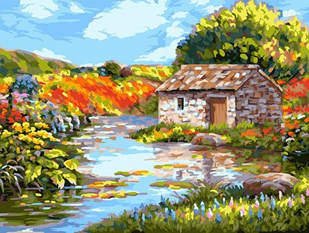 Malen nach Zahlen Bild Hütte am Fluß - A134 von Artibalta