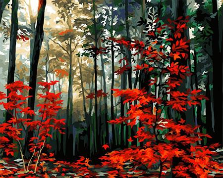Malen nach Zahlen Bild Herbstlicher Wald - A140 von Artibalta