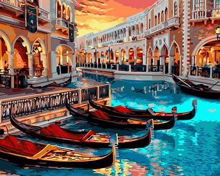 Malen nach Zahlen Bild Venediger Gondeln - A141 von Artibalta